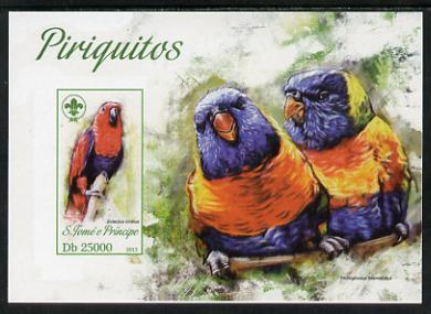 St Thomas & Prince Islands 2013 Parrots #4 with Scout Logo imperf m/sheet unmounted mint. Note this item is privately produced and is offered purely on its thematic appeal