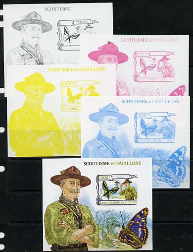 Burundi 2013 Scouting & Butterflies #3 - the set of 5 imperf progressive proofs comprising the 4 individual colours plus all 4-colour composite, unmounted mint