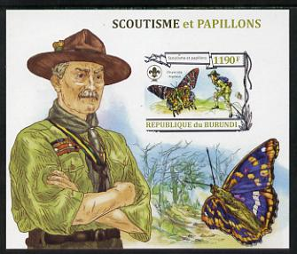 Burundi 2013 Scouting & Butterflies #4 imperf m/sheet unmounted mint
