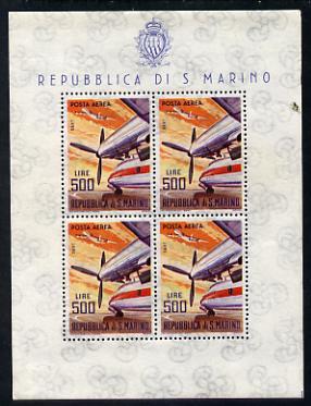 San Marino 1963-65 Rolls Royce Dart 500L special sheetlet of 4 values unmounted mint SG 741