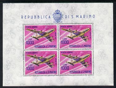 San Marino 1963-65 Boeing 707 1,000L special sheetlet of 4 values unmounted mint SG 742