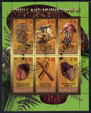 Malawi 2010 Fossils & Mushrooms #1 perf sheetlet containing 6 values cto used