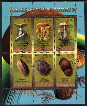 Malawi 2010 Fossils & Mushrooms #2 perf sheetlet containing 6 values cto used