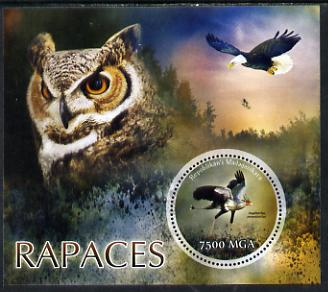 Madagascar 2014 Birds of Prey perf m/sheet containing one circular value unmounted mint