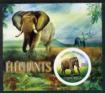 Madagascar 2014 Elephants imperf m/sheet containing one circular value unmounted mint