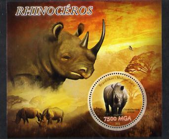 Madagascar 2014 Rhinos perf m/sheet containing one circular value unmounted mint
