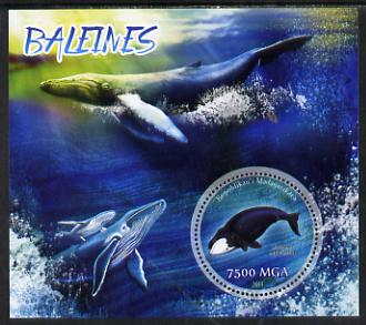Madagascar 2014 Whales perf m/sheet containing one circular value unmounted mint