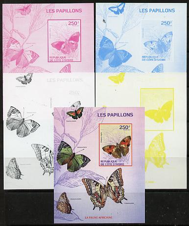 Ivory Coast 2014 Butterflies #1 m/sheet - the set of 5 imperf progressive proofs comprising the 4 individual colours plus all 4-colour composite, unmounted mint