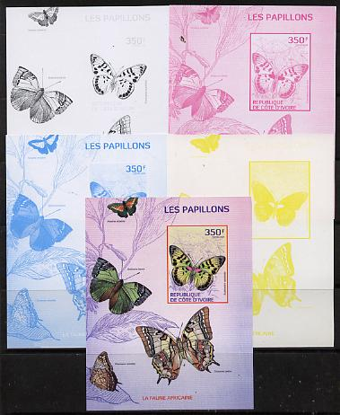 Ivory Coast 2014 Butterflies #2 m/sheet - the set of 5 imperf progressive proofs comprising the 4 individual colours plus all 4-colour composite, unmounted mint , stamps on butterflies, stamps on