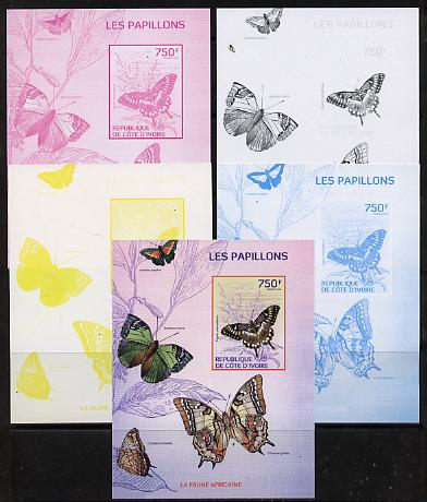 Ivory Coast 2014 Butterflies #4 m/sheet - the set of 5 imperf progressive proofs comprising the 4 individual colours plus all 4-colour composite, unmounted mint