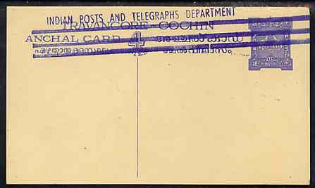Indian States - Travancore-Cochin 1950c 4 pies p/stat card (Elephants) as H & G 4 but handstamped 'Indian Posts And Telegraphs Department' & original text and stamp obliterated with three lines in blue