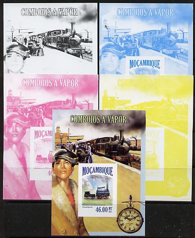 Mozambique 2013 Steam Trains #05 m/sheet - the set of 5 imperf progressive proofs comprising the 4 individual colours plus all 4-colour composite, unmounted mint