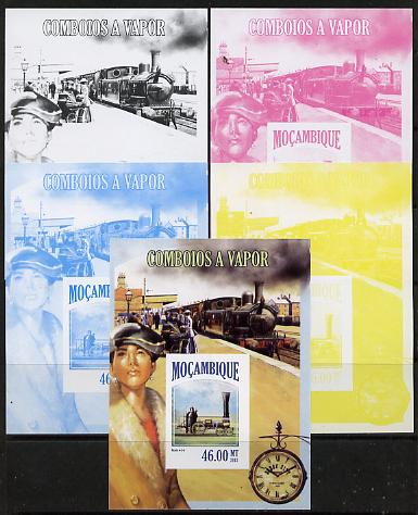 Mozambique 2013 Steam Trains #07 m/sheet - the set of 5 imperf progressive proofs comprising the 4 individual colours plus all 4-colour composite, unmounted mint