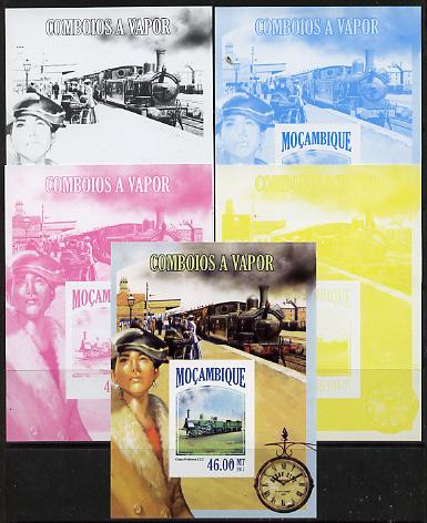 Mozambique 2013 Steam Trains #08 m/sheet - the set of 5 imperf progressive proofs comprising the 4 individual colours plus all 4-colour composite, unmounted mint