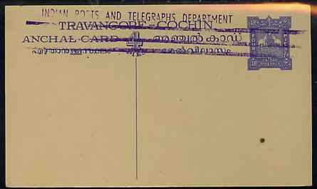Indian States - Travancore-Cochin 1950c 4 pies p/stat card (Elephants) as H & G 4 but handstamped 'Indian Posts And Telegraphs Department' & original text and stamp obliterated with three lines in violet