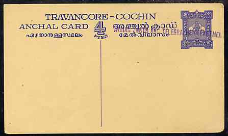Indian States - Travancore-Cochin 1950c 4 pies p/stat card (Elephants) as H & G 4 but handstamped 'Indian Posts And Telegraphs Department' in violet