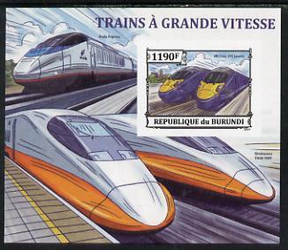 Burundi 2013 High Speed Trains - 395 Javelin imperf deluxe sheet unmounted mint