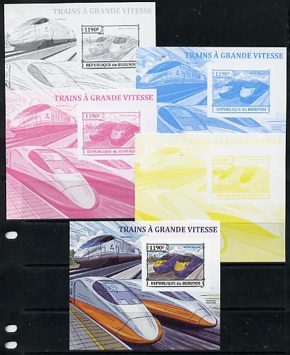 Burundi 2013 High Speed Trains - 395 Javelin deluxe sheet - the set of 5 imperf progressive proofs comprising the 4 individual colours plus all 4-colour composite, unmounted mint