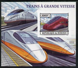 Burundi 2013 High Speed Trains - NTV Alstom AGV ETR 575 imperf deluxe sheet unmounted mint