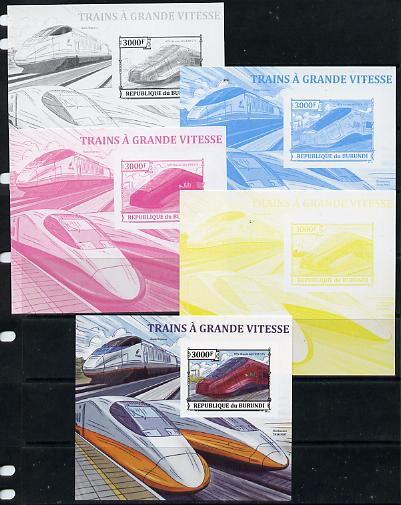 Burundi 2013 High Speed Trains - NTV Alstom AGV ETR 575 deluxe sheet - the set of 5 imperf progressive proofs comprising the 4 individual colours plus all 4-colour composite, unmounted mint