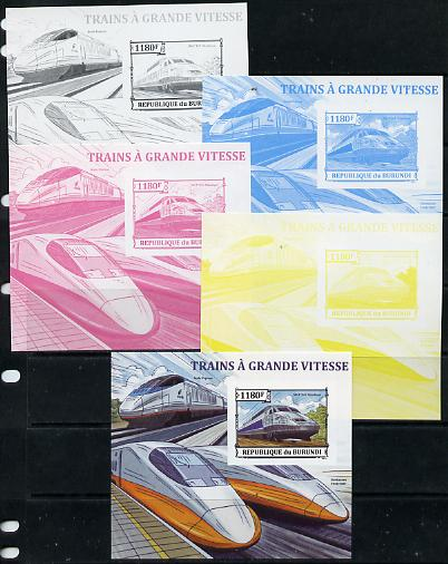 Burundi 2013 High Speed Trains - SNCF TGV Atlantique deluxe sheet - the set of 5 imperf progressive proofs comprising the 4 individual colours plus all 4-colour composite, unmounted mint