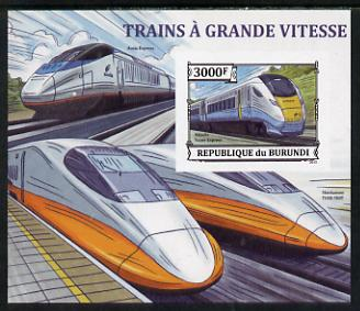 Burundi 2013 High Speed Trains - Hitachi Super Express imperf deluxe sheet unmounted mint