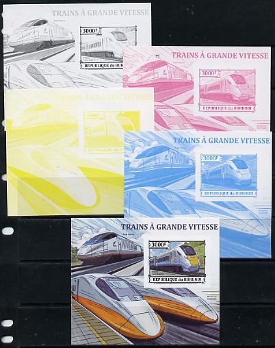 Burundi 2013 High Speed Trains - Hitachi Super Express deluxe sheet - the set of 5 imperf progressive proofs comprising the 4 individual colours plus all 4-colour composite, unmounted mint