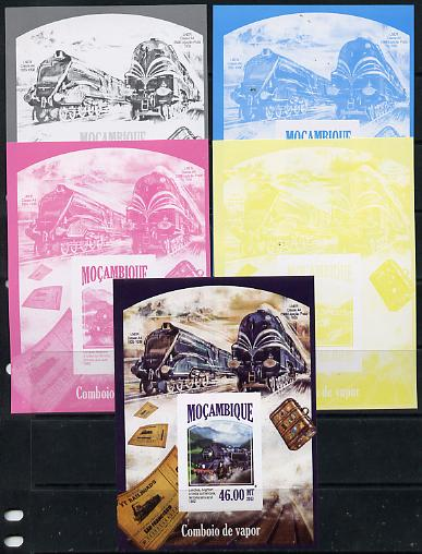 Mozambique 2013 Steam Trains #09 - Bluebell Railway deluxe sheet - the set of 5 imperf progressive proofs comprising the 4 individual colours plus all 4-colour composite, unmounted mint