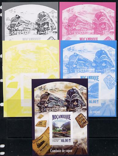 Mozambique 2013 Steam Trains #10 - South-East & Chatham Railway deluxe sheet - the set of 5 imperf progressive proofs comprising the 4 individual colours plus all 4-colour composite, unmounted mint