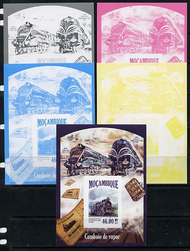 Mozambique 2013 Steam Trains #12 - Sevastopol El-2500 deluxe sheet - the set of 5 imperf progressive proofs comprising the 4 individual colours plus all 4-colour composite, unmounted mint