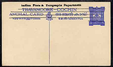 Indian States - Travancore-Cochin 1950c 4 pies p/stat card (Elephants) as H & G 4 but overprinted 'Indian Posts And Telegraphs Department' in black, original text obliterated with four horiz lines and stamp obliterated with five, stamps on elephants, stamps on  kg6 , stamps on