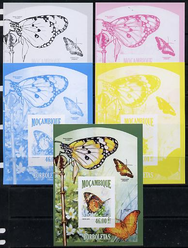Mozambique 2013 Butterflies #8 deluxe sheet - the set of 5 imperf progressive proofs comprising the 4 individual colours plus all 4-colour composite, unmounted mint , stamps on butterflies