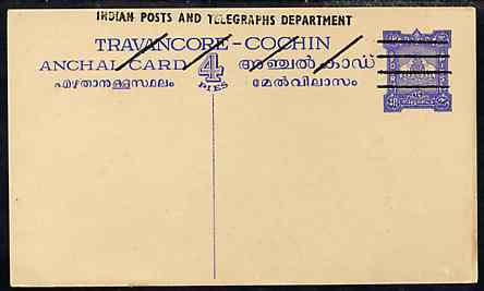 Indian States - Travancore-Cochin 1950c 4 pies p/stat card (Elephants) as H & G 4 but overprinted 'Indian Posts And Telegraphs Department' in black, original text obliterated with four diagonal lines and stamp obliterated with four horizontal lines