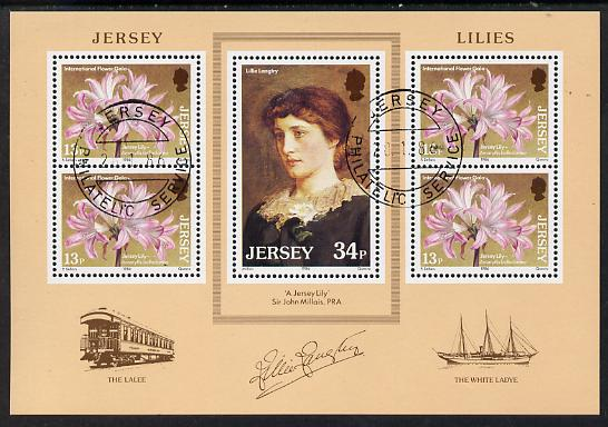 Jersey 1986 Jersey Lilies m/sheet cto used, SG MS 382