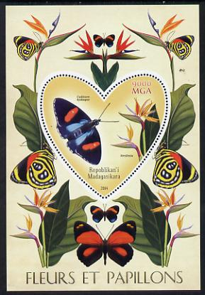 Madagascar 2014 Flowers & Butterflies #1 perf souvenir sheet containing heart shaped value unmounted mint