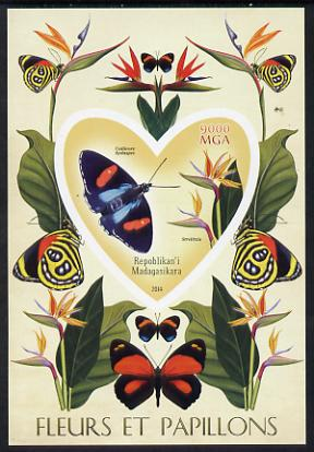 Madagascar 2014 Flowers & Butterflies #1 imperf souvenir sheet containing heart shaped value unmounted mint