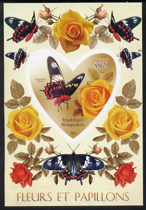 Madagascar 2014 Flowers & Butterflies #2 imperf souvenir sheet containing heart shaped value unmounted mint