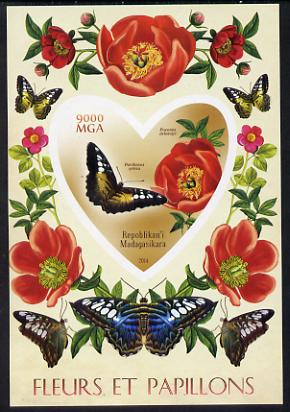 Madagascar 2014 Flowers & Butterflies #3 imperf souvenir sheet containing heart shaped value unmounted mint