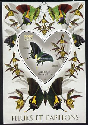Madagascar 2014 Flowers & Butterflies #4 perf souvenir sheet containing heart shaped value unmounted mint