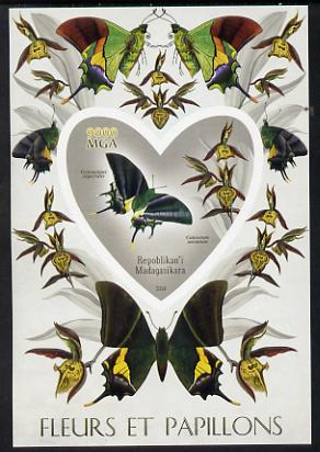 Madagascar 2014 Flowers & Butterflies #4 imperf souvenir sheet containing heart shaped value unmounted mint