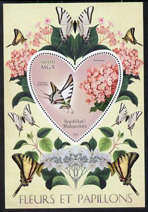 Madagascar 2014 Flowers & Butterflies #5 perf souvenir sheet containing heart shaped value unmounted mint