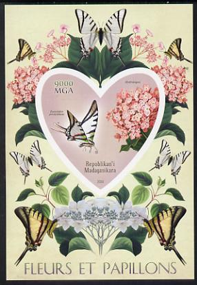 Madagascar 2014 Flowers & Butterflies #5 imperf souvenir sheet containing heart shaped value unmounted mint