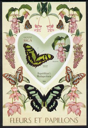 Madagascar 2014 Flowers & Butterflies #6 imperf souvenir sheet containing heart shaped value unmounted mint