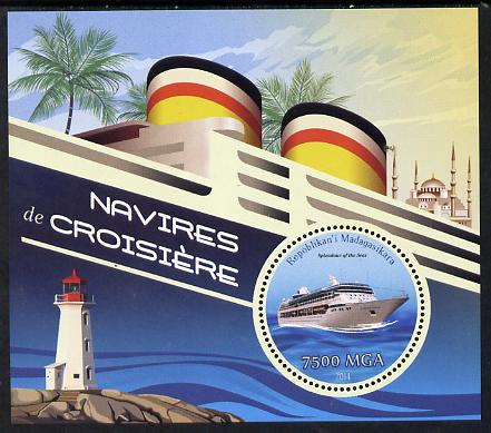 Madagascar 2014 Cruise Ships perf souvenir sheet containing circular shaped value unmounted mint