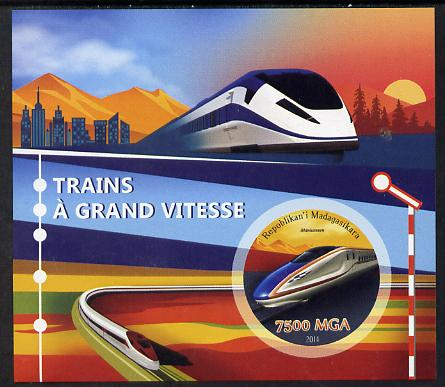Madagascar 2014 High Speed Trains imperf souvenir sheet containing circular shaped value unmounted mint , stamps on shaped, stamps on railways