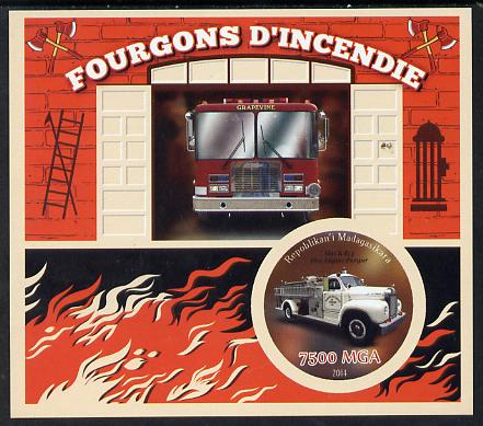 Madagascar 2014 Fire Trucks imperf souvenir sheet containing circular shaped value unmounted mint