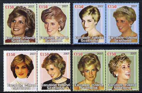 Easdale 2007 Princess Diana perf set of 8 x \A31.50 values (4 se-tenant pairs) unmounted mint