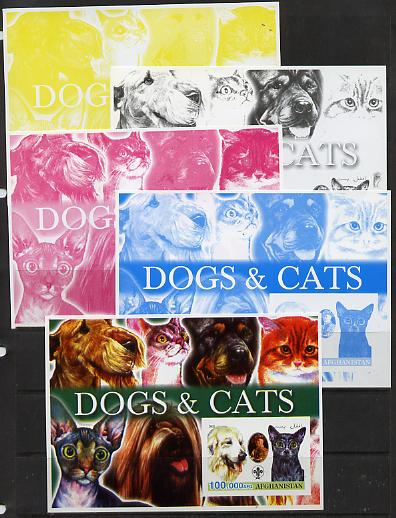 Afghanistan 2003 Dogs & Cats #1 m/sheet with Baden Powell & Scout Logo - the set of 5 imperf progressive proofs comprising the 4 individual colours plus all 4-colour comp...