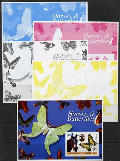 Somalia 2003 Horses & Butterflies (also showing Baden Powell and Scout & Guide Logos) s/sheet - the set of 5 imperf progressive proofs comprising the 4 individual colours plus all 4-colour composite unmounted mint