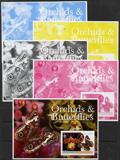 Afghanistan 2003 Orchids & Butterflies (with baden Powell) souvenir sheet - the set of 5 imperf progressive proofs comprising the 4 individual colours plus all 4-colour c...